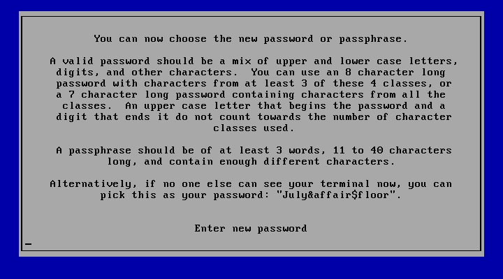On Owl, the password policy (configurable) is enforced even for the initial root password