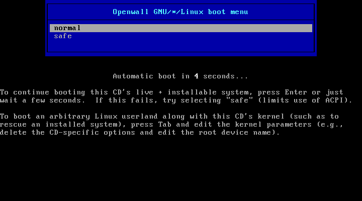CD boot menu