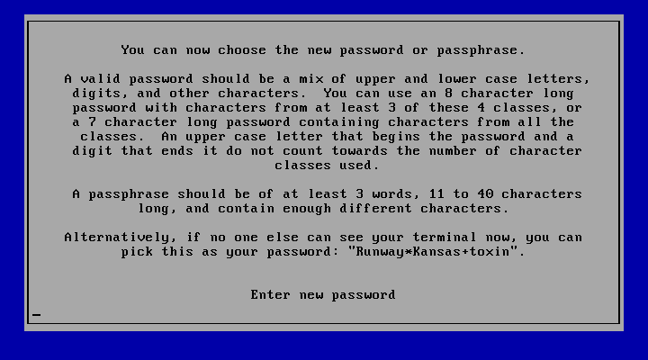 The password policy (configurable) is enforced even for the initial root password