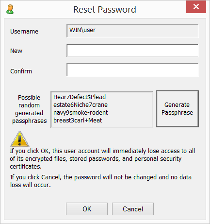 passwdqc for Windows - Reset Password utility - new password dialog