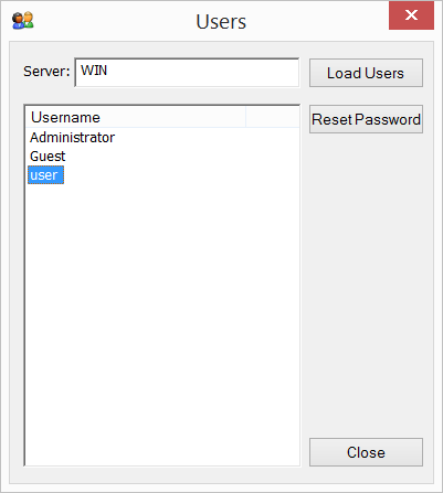 passwdqc for Windows - Reset Password utility - user choice dialog