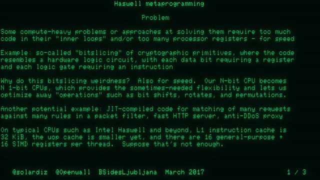 Haswell metaprogramming (BSidesLjubljana 2017)