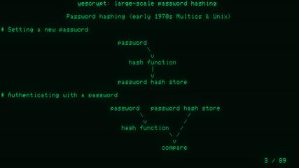 yescrypt: large-scale password hashing (BSidesLjubljana 2017)