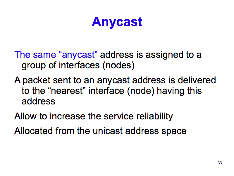 Anycast (IPv6: What, Why, How - Slide 33)