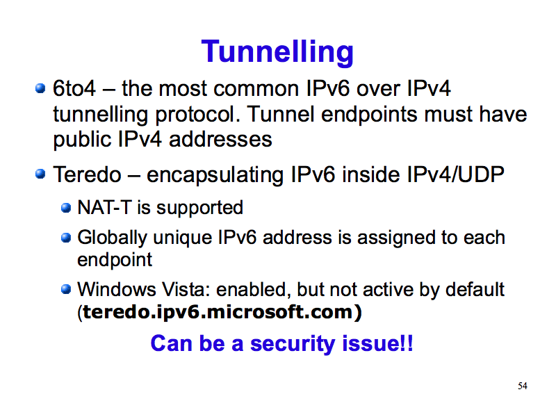 Tunnelling - 6to4, Teredo (IPv6: What, Why, How - Slide 54