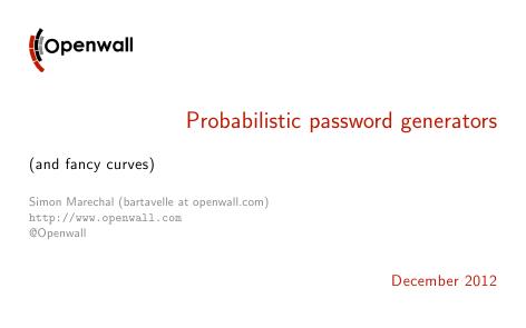 Distributable probabilistic candidate password generators